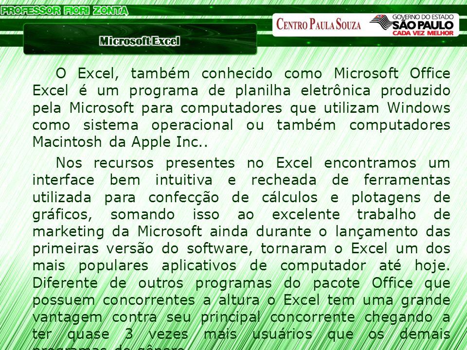 O Excel, também conhecido como Microsoft Office Excel é um programa de planilha eletrônica produzido pela Microsoft para computadores que utilizam Win
