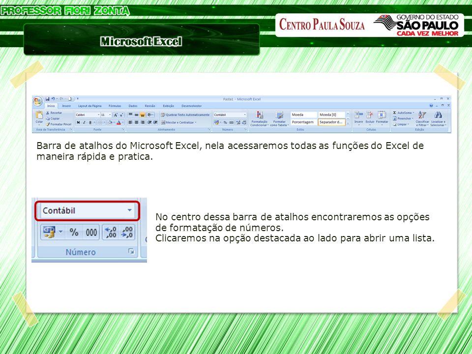 Barra de atalhos do Microsoft Excel, nela acessaremos todas as funções do Excel de maneira rápida e pratica. No centro dessa barra de atalhos encontra