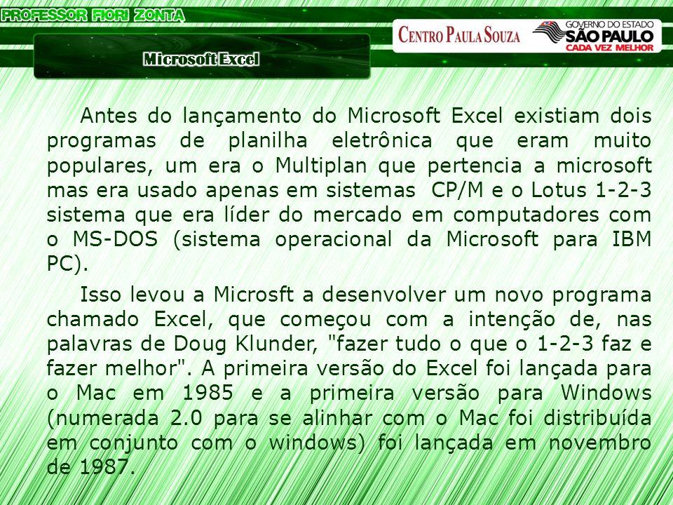 Antes do lançamento do Microsoft Excel existiam dois programas de planilha eletrônica que eram muito populares, um era o Multiplan que pertencia a mic