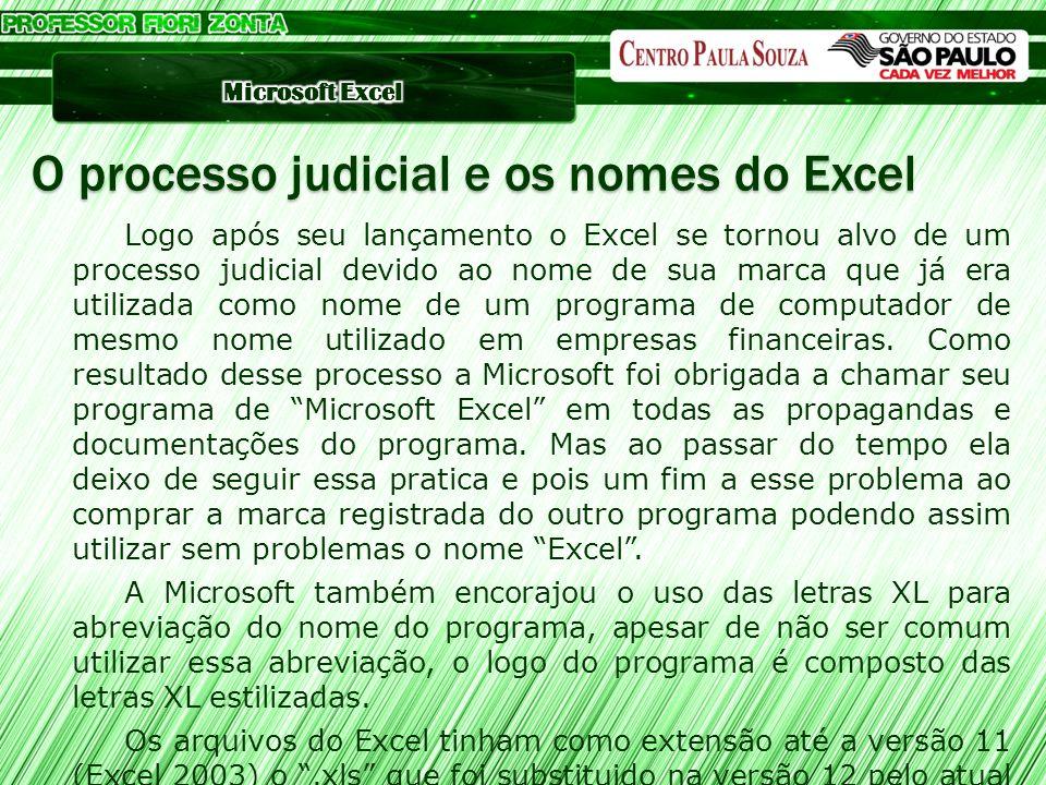 Logo após seu lançamento o Excel se tornou alvo de um processo judicial devido ao nome de sua marca que já era utilizada como nome de um programa de c
