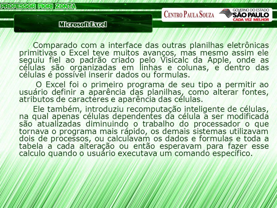 Comparado com a interface das outras planilhas eletrônicas primitivas o Excel teve muitos avanços, mas mesmo assim ele seguiu fiel ao padrão criado pe
