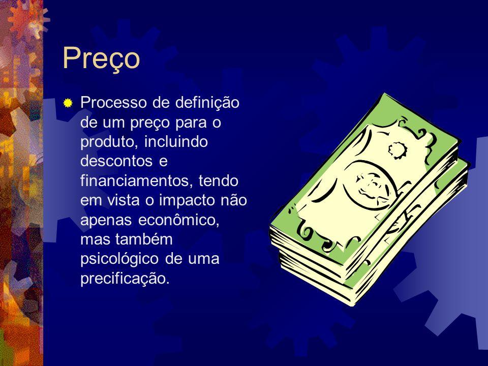 Preço Processo de definição de um preço para o produto, incluindo descontos e financiamentos, tendo em vista o impacto não apenas econômico, mas també