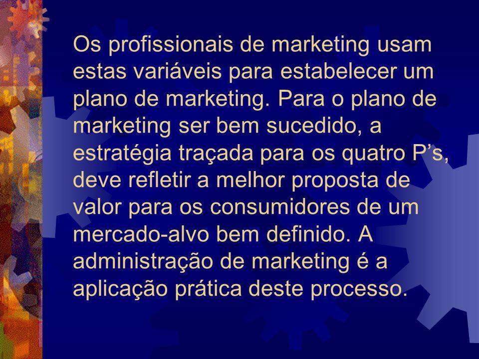 Os profissionais de marketing usam estas variáveis para estabelecer um plano de marketing. Para o plano de marketing ser bem sucedido, a estratégia tr