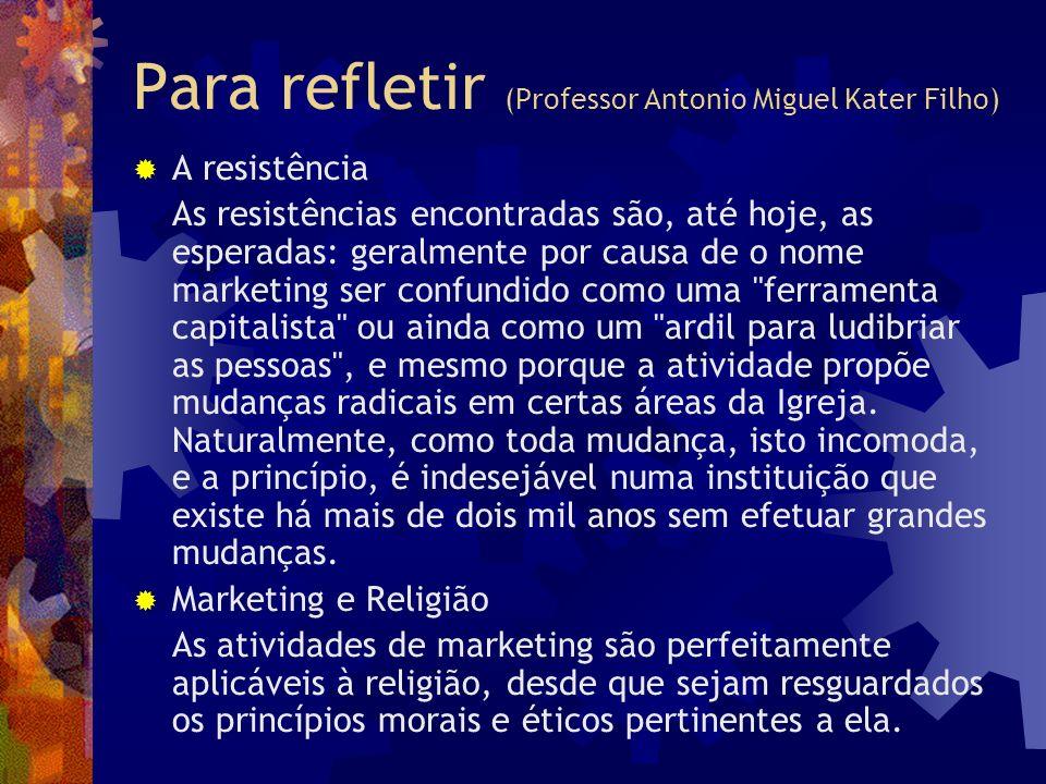 Para refletir (Professor Antonio Miguel Kater Filho) A resistência As resistências encontradas são, até hoje, as esperadas: geralmente por causa de o