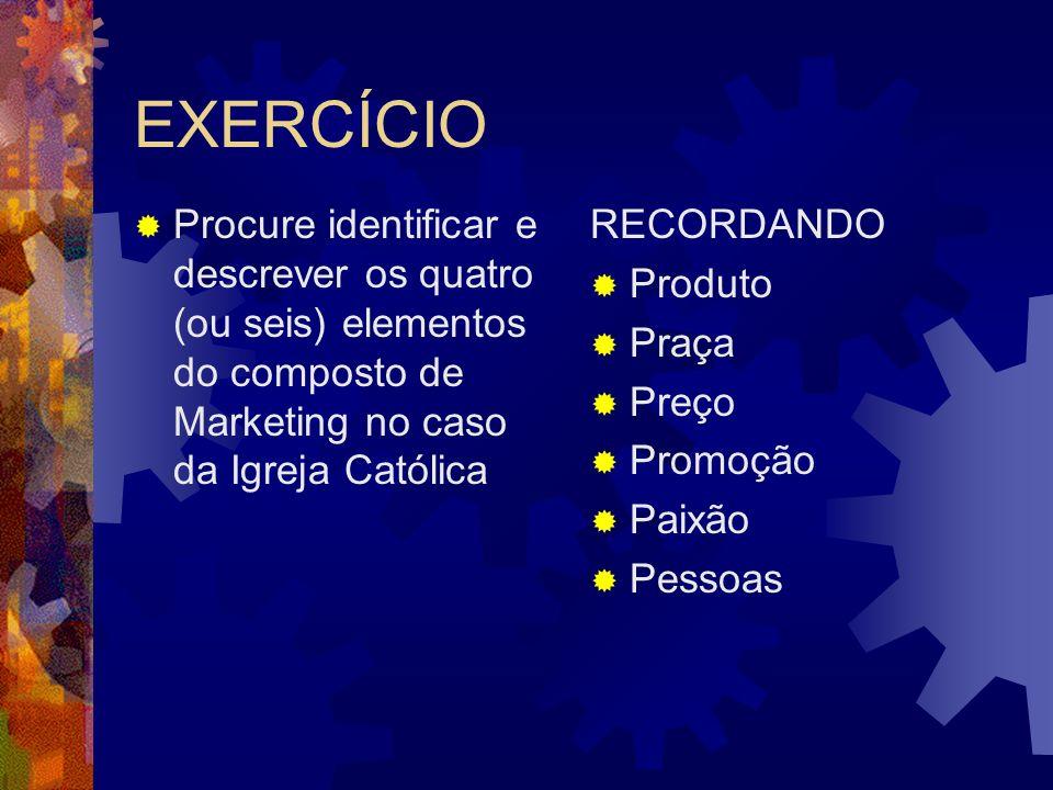EXERCÍCIO Procure identificar e descrever os quatro (ou seis) elementos do composto de Marketing no caso da Igreja Católica RECORDANDO Produto Praça P
