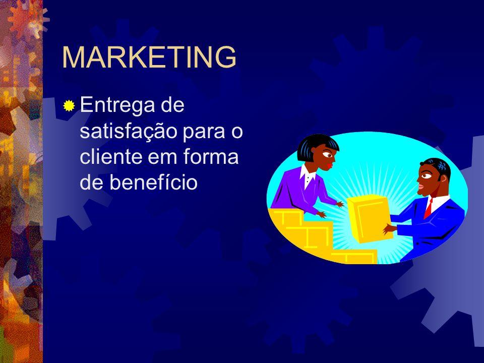 MARKETING Entrega de satisfação para o cliente em forma de benefício