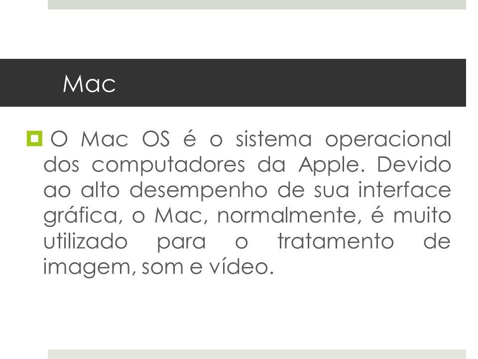 O Mac OS é o sistema operacional dos computadores da Apple. Devido ao alto desempenho de sua interface gráfica, o Mac, normalmente, é muito utilizado