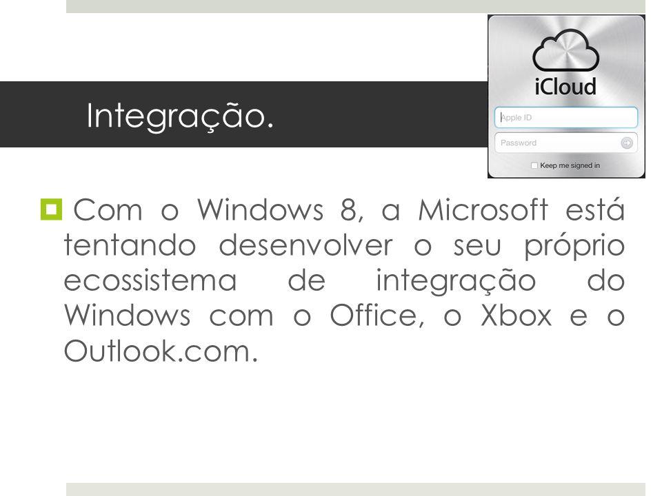 Integração. Com o Windows 8, a Microsoft está tentando desenvolver o seu próprio ecossistema de integração do Windows com o Office, o Xbox e o Outlook