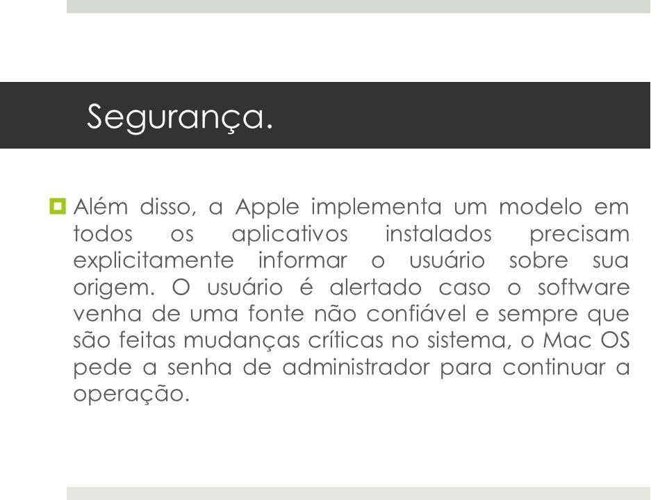 Segurança. Além disso, a Apple implementa um modelo em todos os aplicativos instalados precisam explicitamente informar o usuário sobre sua origem. O