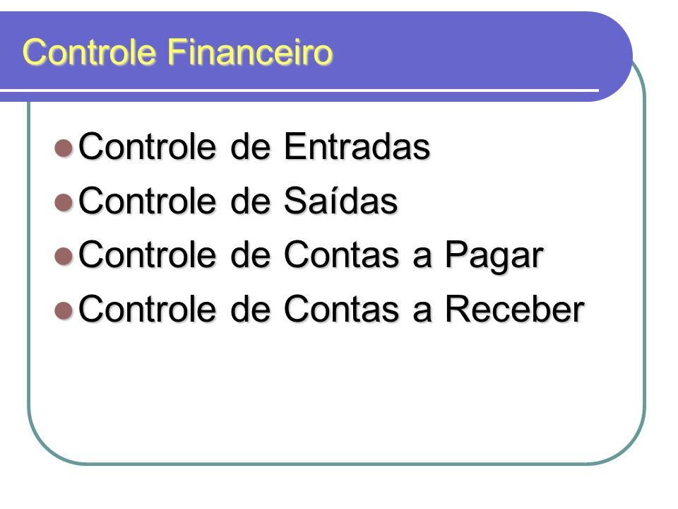 Controle Financeiro Controle de Entradas Controle de Entradas Controle de Saídas Controle de Saídas Controle de Contas a Pagar Controle de Contas a Pa