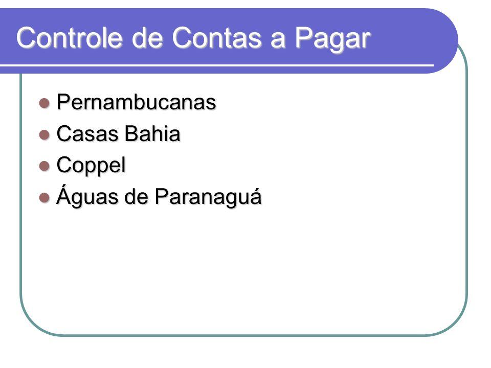 Controle de Contas a Pagar Pernambucanas Pernambucanas Casas Bahia Casas Bahia Coppel Coppel Águas de Paranaguá Águas de Paranaguá
