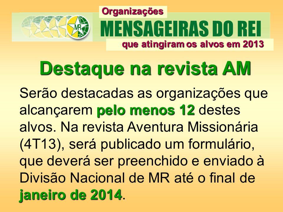 Destaque na revista AM pelo menos 12 janeiro de 2014 Serão destacadas as organizações que alcançarem pelo menos 12 destes alvos. Na revista Aventura M