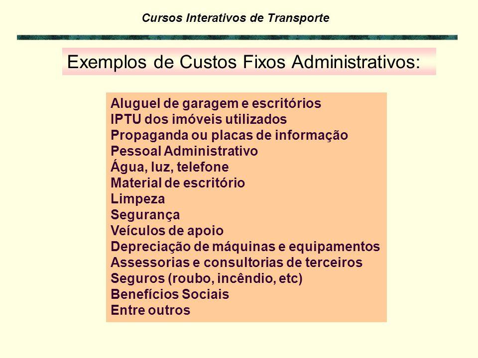 Cursos Interativos de Transporte Exemplos de Custos Fixos e Variáveis Operacionais retirados de uma publicação, referentes a veículos: