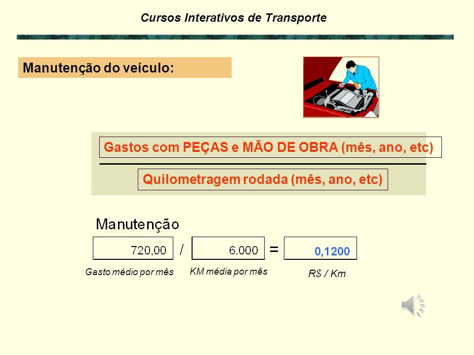 Cursos Interativos de Transporte Custos Variáveis por km Todos os custos do veículo que VARIAM com a distância percorrida ou quilometragem rodada. Man