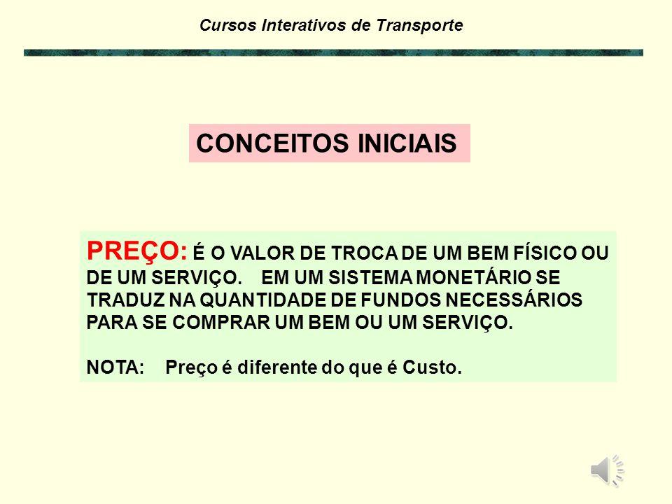 Cursos Interativos de Transporte PREÇO: É O VALOR DE TROCA DE UM BEM FÍSICO OU DE UM SERVIÇO.