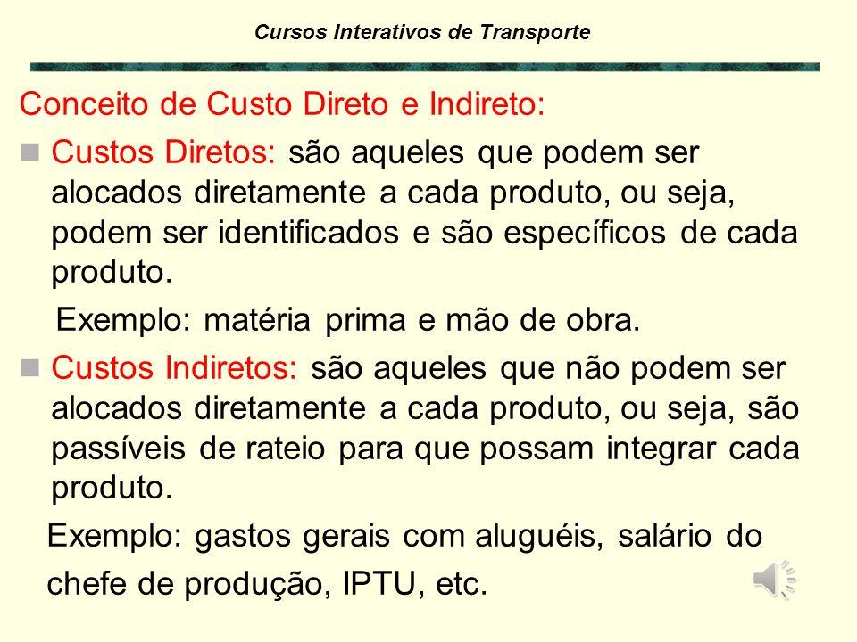 Cursos Interativos de Transporte Controle dos Custos: A estrutura de controle onde se obtém as informações para os custos deve ser sistematizada e ter