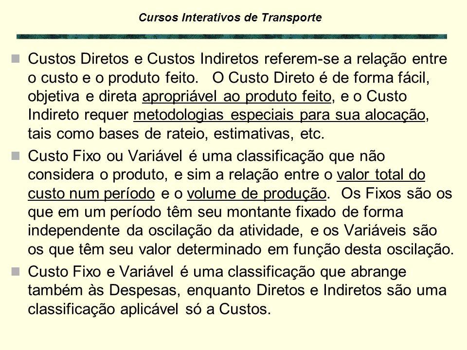 Cursos Interativos de Transporte Custos Diretos e Custos Indiretos referem-se a relação entre o custo e o produto feito.