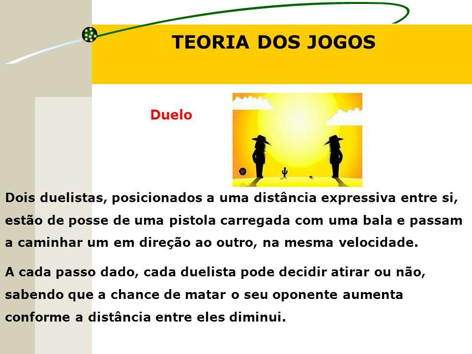 TEORIA DOS JOGOS Duelo Dois duelistas, posicionados a uma distância expressiva entre si, estão de posse de uma pistola carregada com uma bala e passam a caminhar um em direção ao outro, na mesma velocidade.