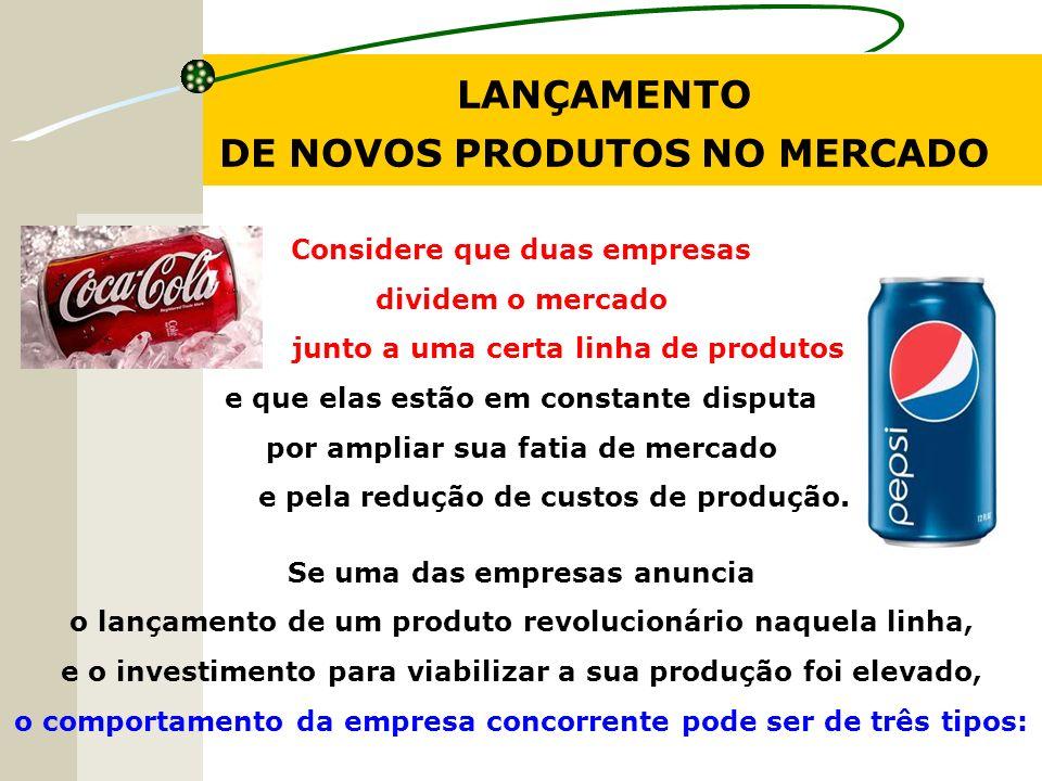 LANÇAMENTO DE NOVOS PRODUTOS NO MERCADO Considere que duas empresas dividem o mercado junto a uma certa linha de produtos e que elas estão em constant