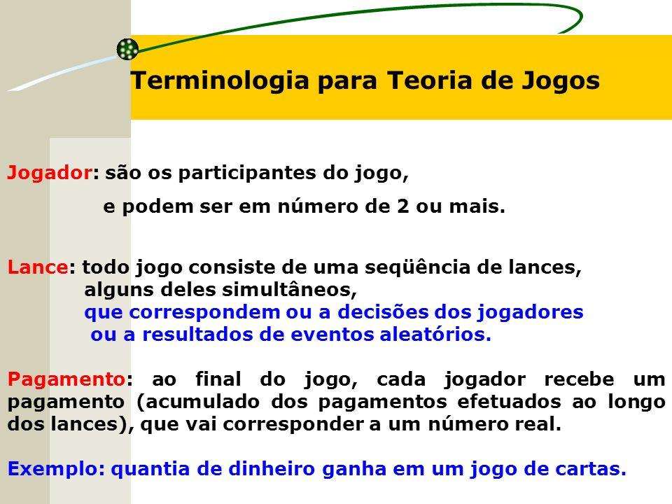 Terminologia para Teoria de Jogos Jogador: são os participantes do jogo, e podem ser em número de 2 ou mais.
