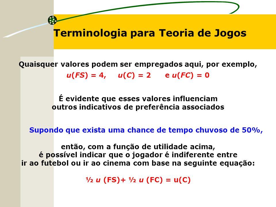 Terminologia para Teoria de Jogos Quaisquer valores podem ser empregados aqui, por exemplo, u(FS) = 4, u(C) = 2 e u(FC) = 0 É evidente que esses valores influenciam outros indicativos de preferência associados Supondo que exista uma chance de tempo chuvoso de 50%, então, com a função de utilidade acima, é possível indicar que o jogador é indiferente entre ir ao futebol ou ir ao cinema com base na seguinte equação: ½ u (FS)+ ½ u (FC) = u(C)