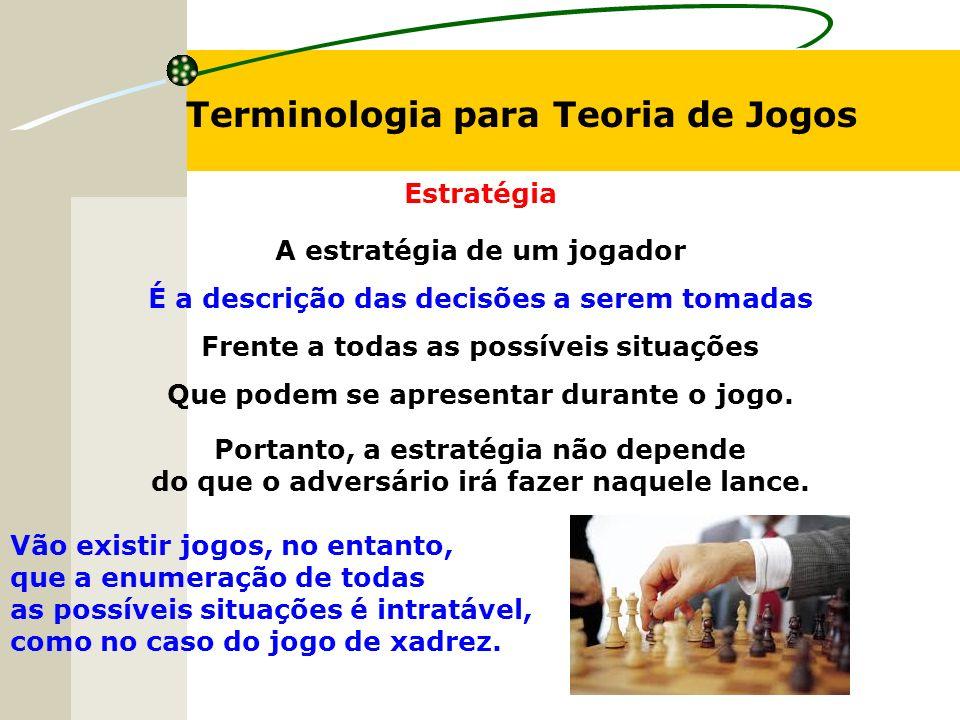 Terminologia para Teoria de Jogos Estratégia A estratégia de um jogador É a descrição das decisões a serem tomadas Frente a todas as possíveis situaçõ