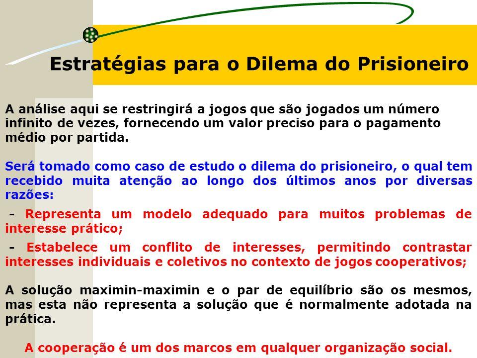 Estratégias para o Dilema do Prisioneiro A análise aqui se restringirá a jogos que são jogados um número infinito de vezes, fornecendo um valor preciso para o pagamento médio por partida.