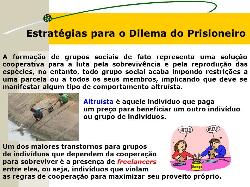 Estratégias para o Dilema do Prisioneiro A formação de grupos sociais de fato representa uma solução cooperativa para a luta pela sobrevivência e pela
