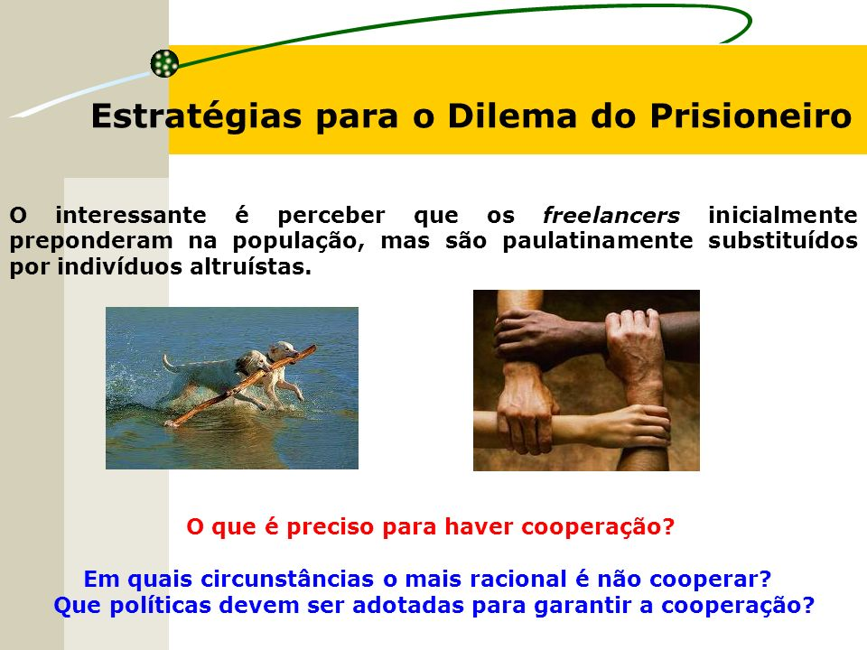 Estratégias para o Dilema do Prisioneiro O interessante é perceber que os freelancers inicialmente preponderam na população, mas são paulatinamente substituídos por indivíduos altruístas.