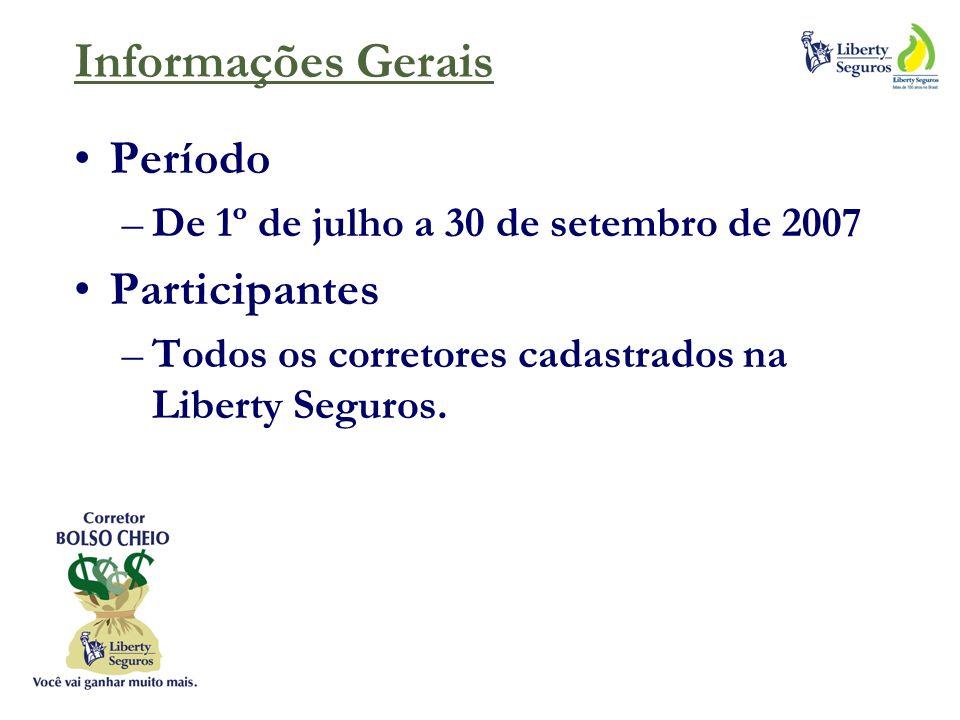Informações Gerais Período –De 1º de julho a 30 de setembro de 2007 Participantes –Todos os corretores cadastrados na Liberty Seguros.
