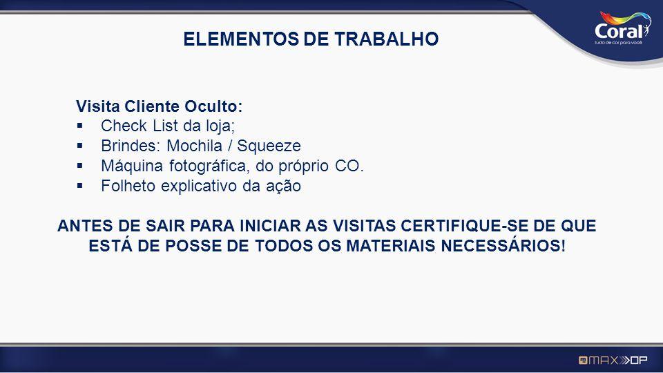 ELEMENTOS DE TRABALHO Visita Cliente Oculto: Check List da loja; Brindes: Mochila / Squeeze Máquina fotográfica, do próprio CO. Folheto explicativo da