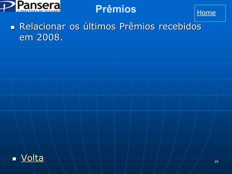 10 Prêmios Relacionar os últimos Prêmios recebidos em 2008.