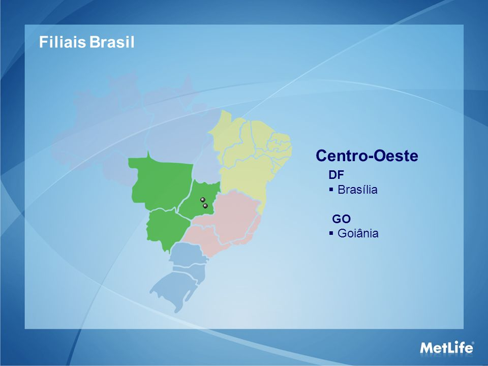 Centro-Oeste DF Brasília GO Goiânia Filiais Brasil