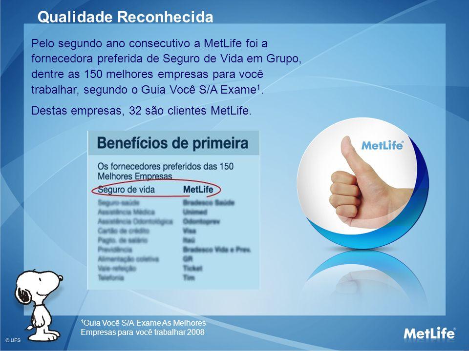 Pelo segundo ano consecutivo a MetLife foi a fornecedora preferida de Seguro de Vida em Grupo, dentre as 150 melhores empresas para você trabalhar, se