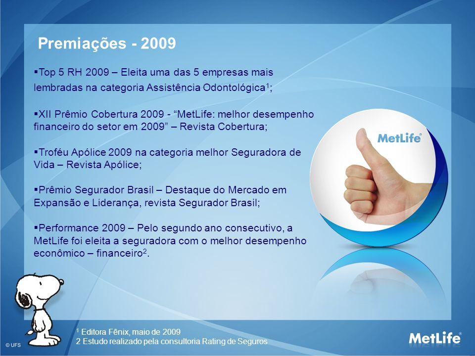Top 5 RH 2009 – Eleita uma das 5 empresas mais lembradas na categoria Assistência Odontológica 1 ; XII Prêmio Cobertura 2009 - MetLife: melhor desempe