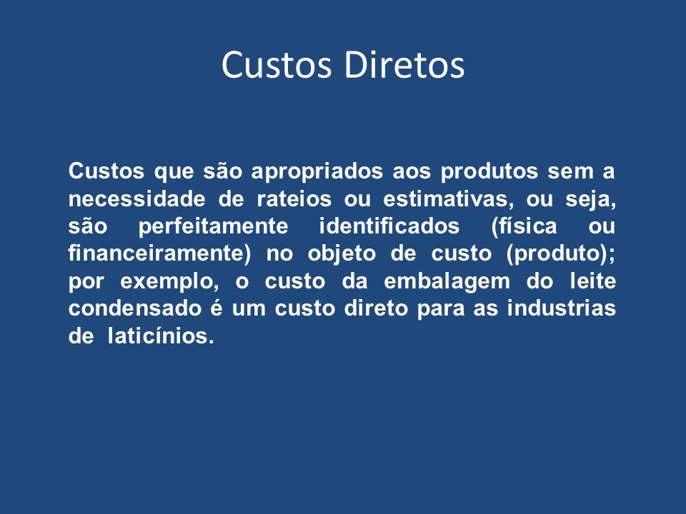 Custos Diretos Custos que são apropriados aos produtos sem a necessidade de rateios ou estimativas, ou seja, são perfeitamente identificados (física o