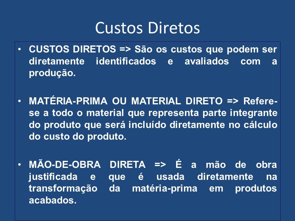 Custos Diretos CUSTOS DIRETOS => São os custos que podem ser diretamente identificados e avaliados com a produção. MATÉRIA-PRIMA OU MATERIAL DIRETO =>