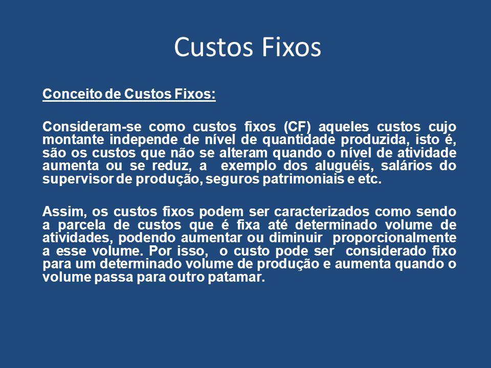 Custos Fixos Conceito de Custos Fixos: Consideram-se como custos fixos (CF) aqueles custos cujo montante independe de nível de quantidade produzida, i