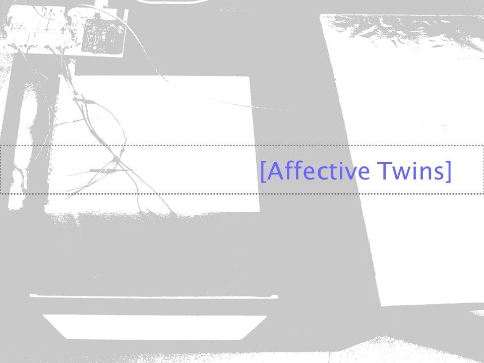 motivações Idéia inicial Reavaliação da idéia de forma a extrair da imagem inicial apenas a essência das relações a a serem estabelecidas Forma e materialidadetecnologias Pesquisa e experimentação Produção do produto final adaptação/montagem Testes de uso e avaliação da interação OBJETO INTERATIVO Concepção e desenvolvimento Affective Twins