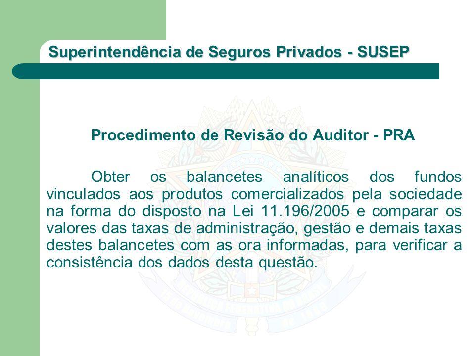 Superintendência de Seguros Privados - SUSEP Procedimento de Revisão do Auditor - PRA Obter os balancetes analíticos dos fundos vinculados aos produto
