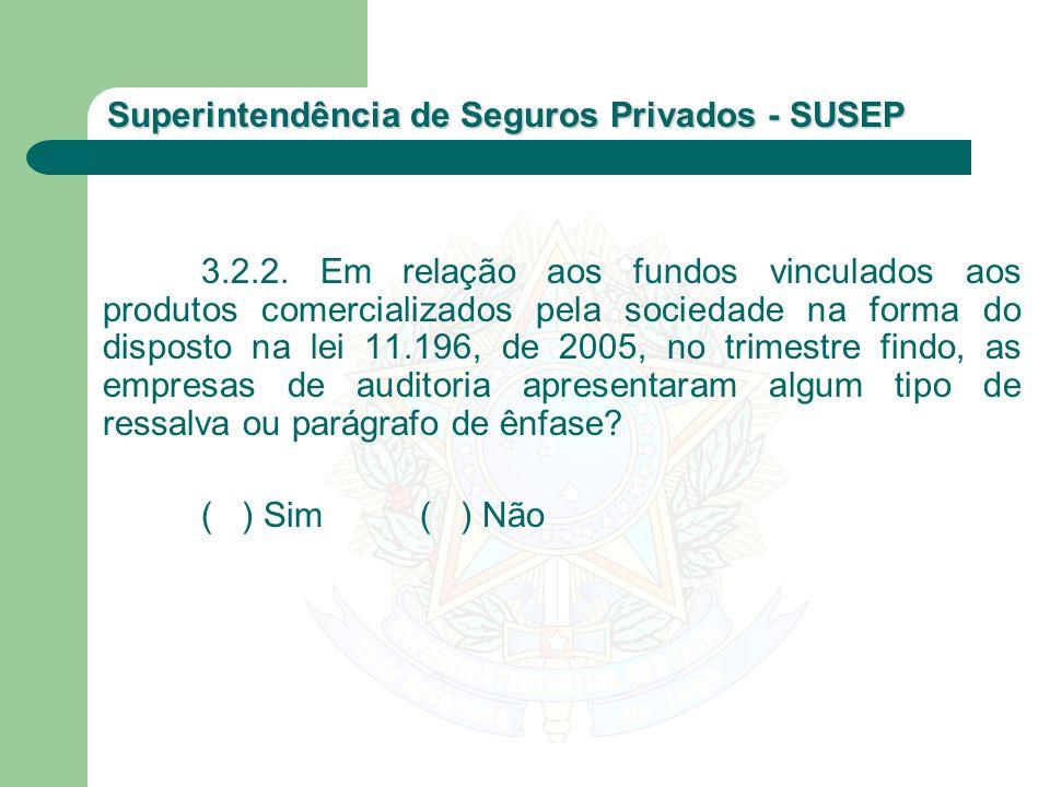 Superintendência de Seguros Privados - SUSEP 3.2.2. Em relação aos fundos vinculados aos produtos comercializados pela sociedade na forma do disposto