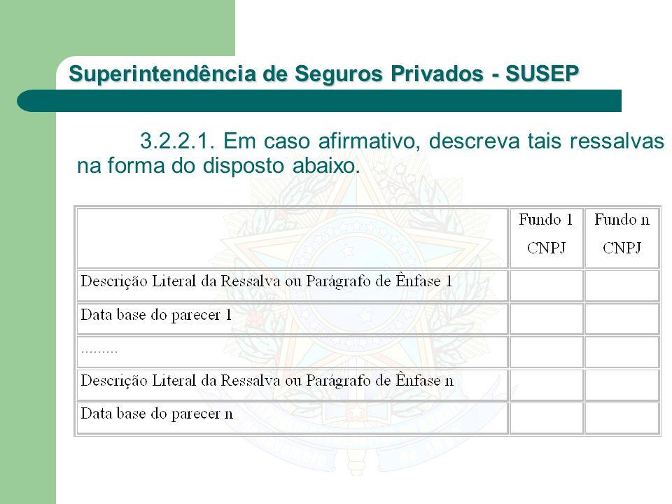 Superintendência de Seguros Privados - SUSEP 3.2.2.1. Em caso afirmativo, descreva tais ressalvas na forma do disposto abaixo.