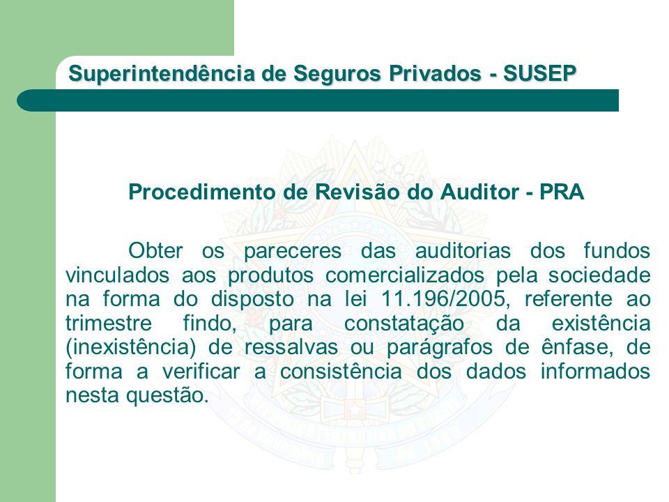 Superintendência de Seguros Privados - SUSEP Procedimento de Revisão do Auditor - PRA Obter os pareceres das auditorias dos fundos vinculados aos prod