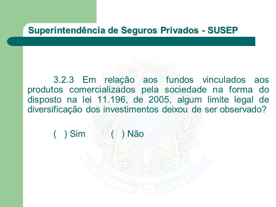 Superintendência de Seguros Privados - SUSEP 3.2.3 Em relação aos fundos vinculados aos produtos comercializados pela sociedade na forma do disposto n
