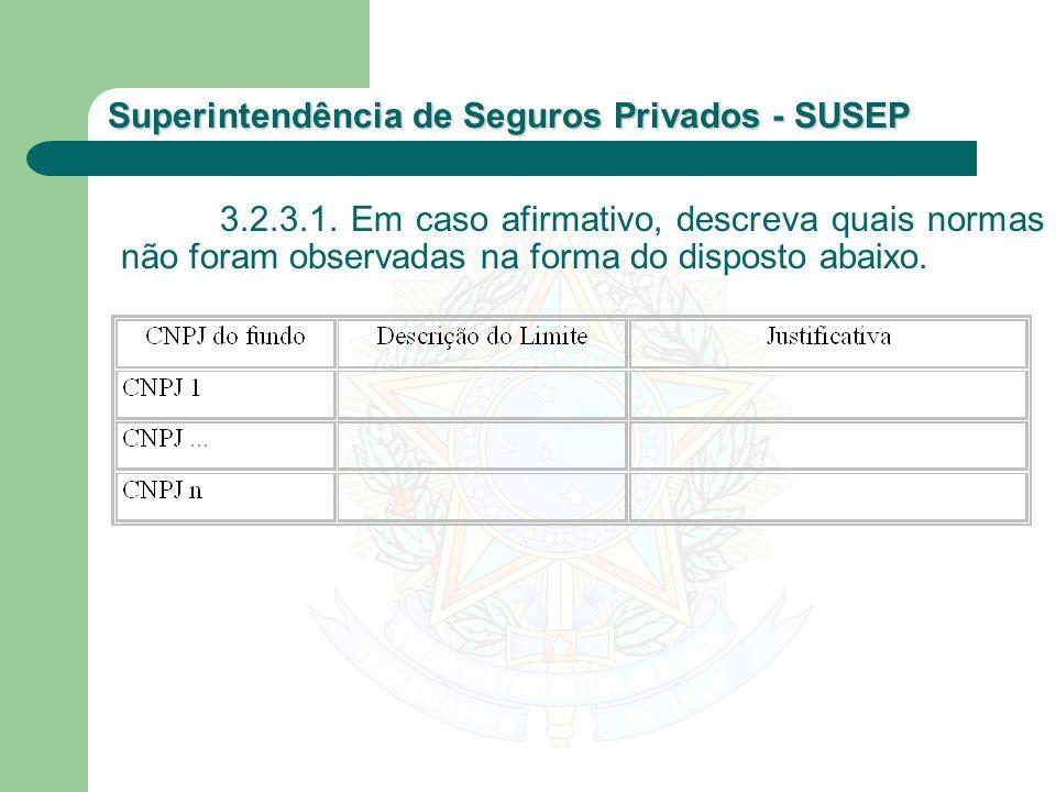 Superintendência de Seguros Privados - SUSEP 3.2.3.1. Em caso afirmativo, descreva quais normas não foram observadas na forma do disposto abaixo.