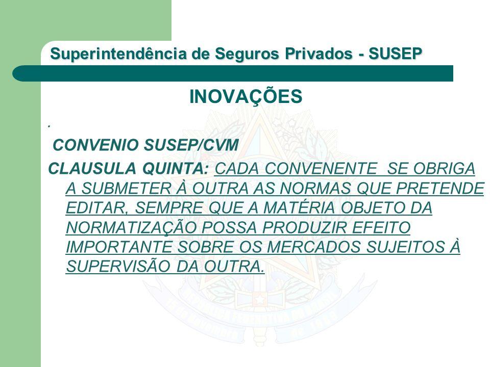 Superintendência de Seguros Privados - SUSEP. CONVENIO SUSEP/CVM CLAUSULA QUINTA: CADA CONVENENTE SE OBRIGA A SUBMETER À OUTRA AS NORMAS QUE PRETENDE