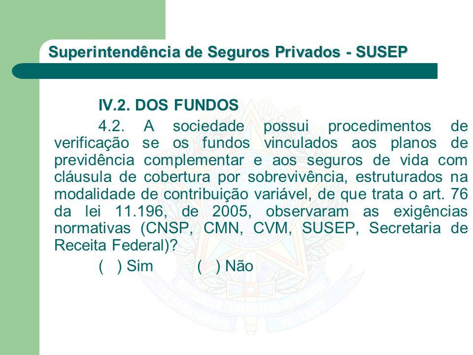 Superintendência de Seguros Privados - SUSEP IV.2. DOS FUNDOS 4.2. A sociedade possui procedimentos de verificação se os fundos vinculados aos planos