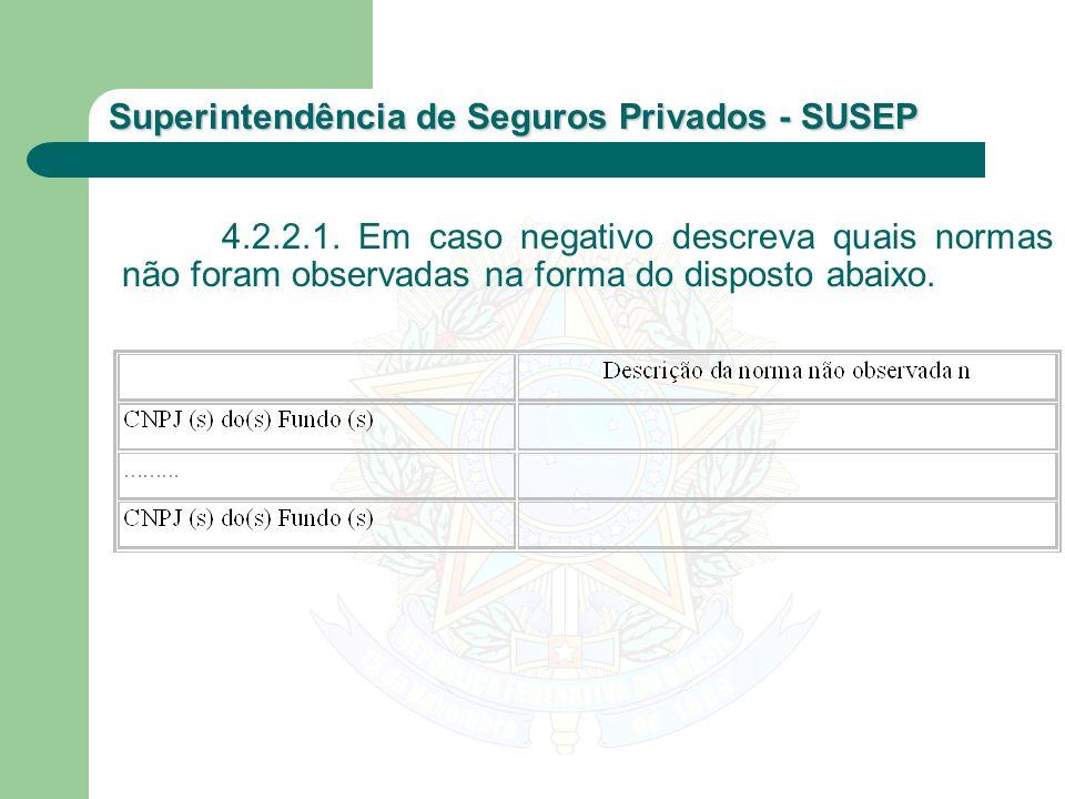 Superintendência de Seguros Privados - SUSEP 4.2.2.1. Em caso negativo descreva quais normas não foram observadas na forma do disposto abaixo.