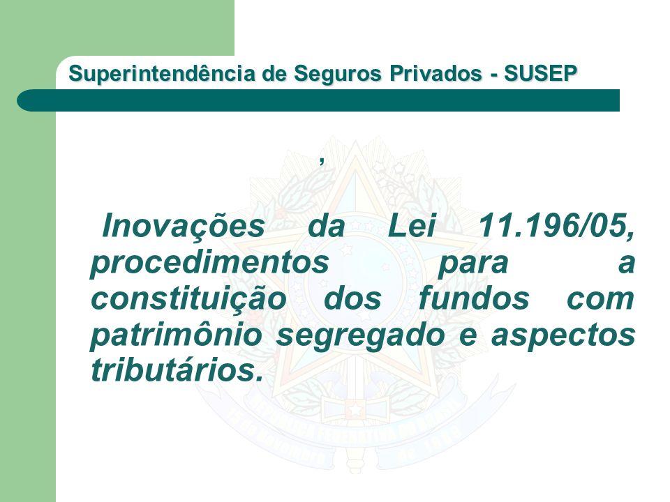 Superintendência de Seguros Privados - SUSEP Inovações da Lei 11.196/05, procedimentos para a constituição dos fundos com patrimônio segregado e aspec