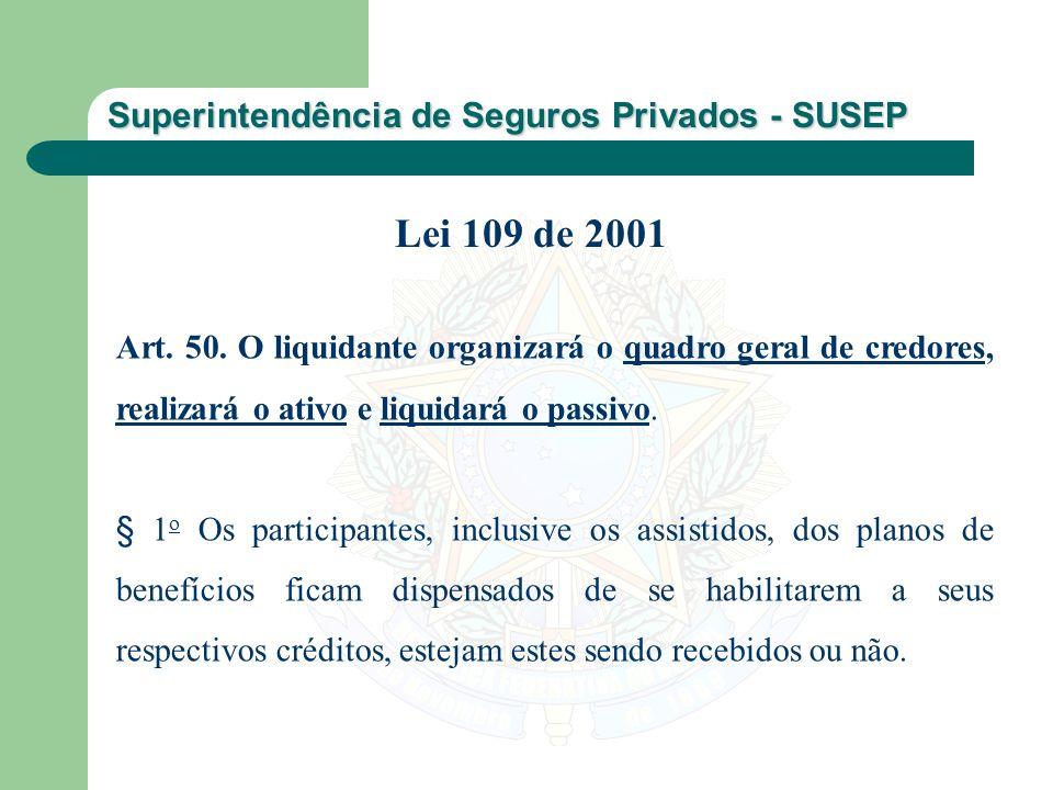 Superintendência de Seguros Privados - SUSEP Art. 50. O liquidante organizará o quadro geral de credores, realizará o ativo e liquidará o passivo. § 1